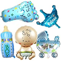5pcs Cute baby shower foil balloons Baby Boy girl air Balloons for 1st Birthday Party Decorations Kids toy blue pink…