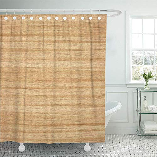 (Emvency Shower Curtain Set Waterproof Adjustable Polyester Fabric Line Light Wood Wooden Natural Pattern and Architecture 66 x 72 Inches Set with Hooks for Bathroom)