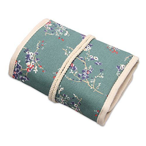 Teamoy Travel Jewelry Roll, Jewelry Storage Bag Organizer for Necklaces, Earrings, Bracelets, Rings, Brooches and More, Compact and Easy to Carry, Plum Flowers