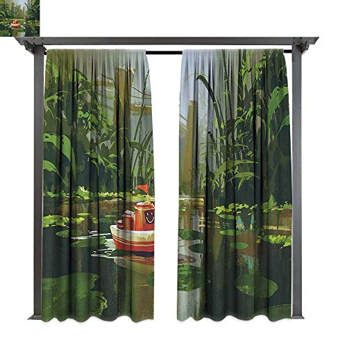 Fantasy, Outdoor- Free Standing Outdoor Privacy Curtain, Toy Boat with Smile Face Robot Sailing on River Forest Cartoon Inspired Kid Friendly, for Front Porch Covered Patio Gazebo Dock Beach Home ()