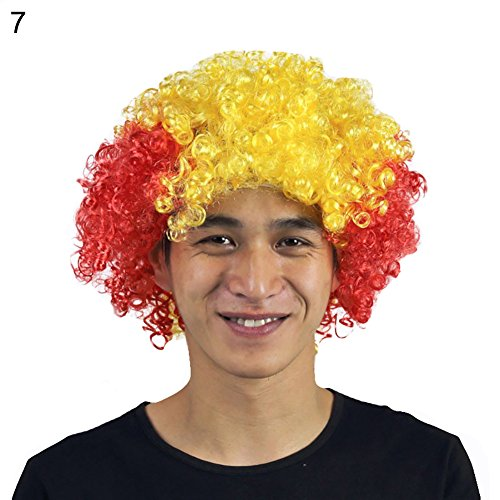 Kekailu Wig Colorful National Flag Country Football World Cup Fan Headgear Party Supply - Spain -