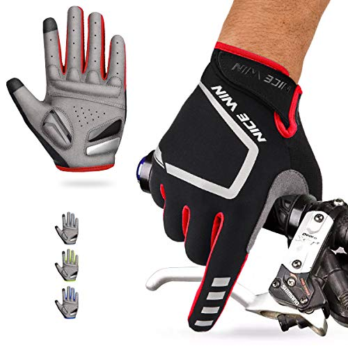 Riding Answer Apparel Red - Cycling Gloves Motorcycle Bike Mountain-Padded Road Bicycle Men Women Antiskid Touch Screen Red S