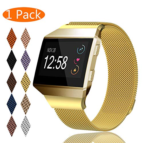 KingAcc Compatible Fitbit Ionic Bands, Milanese Stainless Steel Mesh Metal Replacement Band for Fitbit Ionic, Magnetic Clasp Lock Wristband Strap Women Men (1-Pack, Gold, Small)