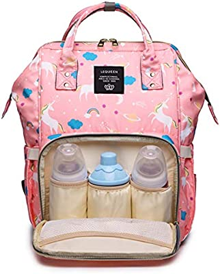 456193b2e7e5 LEQUEEN Diaper Bag Multi-Function Baby Diaper Backpack Nappy Bags, Mom Dad  Travel Backpack Large Capacity Baby Bags with Unicorn Printing (Pink)