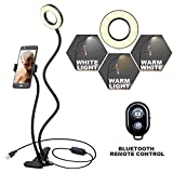 K&F Concept Selfie Ring Light with Cell Phone Holder for Live Stream and Makeup, LED Light [3-Light Mode] [10-Level Brightness] with Remote Control and Flexible Hose Bracket for iPhone Android