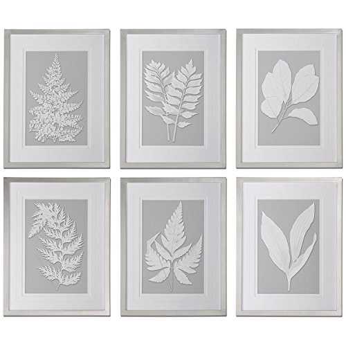 Uttermost 41394 Moonlight Ferns Framed Art (Set of 6) (Uttermost Silver Leaves)