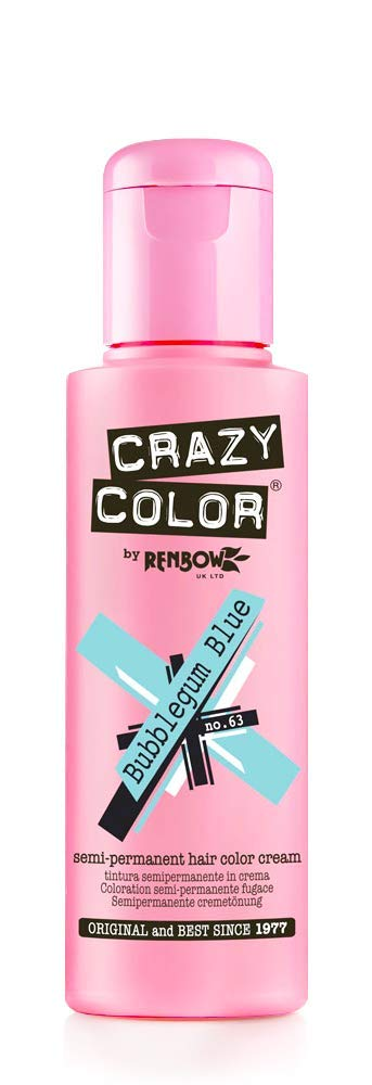 Renbow Crazy Color Semi Permanent Hair Color Cream Bubblegum Blue No.63 100ml