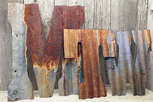 "Rusty Tin Letters Rustic Metal Wall Decor 8"" - 36"" Galvanized Farmhouse Wedding Decorations"