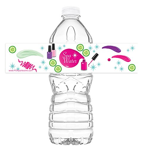 POP parties Spa Party Bottle Wraps - Set of 20 - Spa Party Water Bottle Labels - Spa Party Decorations - Made in The USA