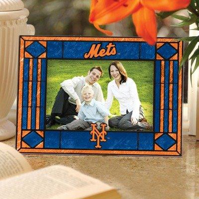 Mlb Hand Painted Art Glass - Memory Company MLB New York Mets Art Glass Horizontal Frame, One Size, Multicolor