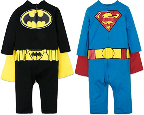 Warner Bros. Batman and Superman Baby Boys' 2 Pack Costume Coverall Pajamas ()