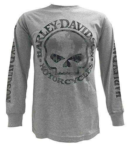 (Harley-Davidson Men's Shirt, Willie G Skull Long Sleeve Tee, Gray 30296651 (M) )