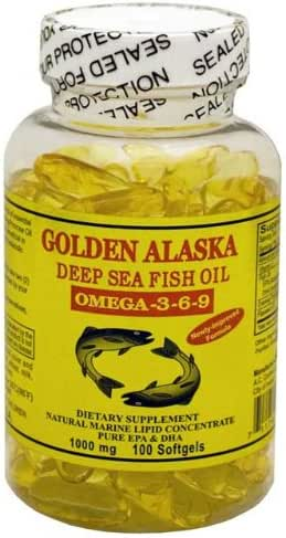 Golden Alaska Deep Sea Omega-3-6-9 Fish Oil 1000mg 100 Softgels
