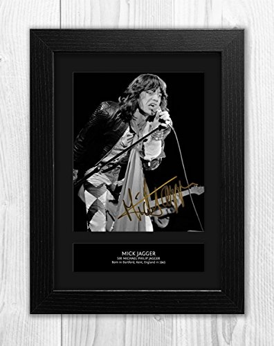 Engravia Digital Mick Jagger - The Rolling Stones 1 MT - Signed Autograph Reproduction Photo A4 Print(Black frame)