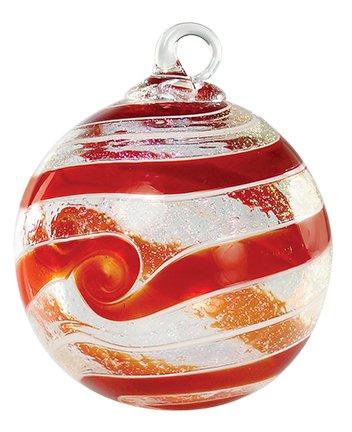 Glass Eye Studio Hand Blown Glass Ornament Designer Series - Red Spin Boxed