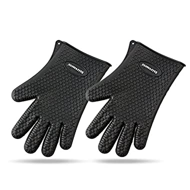 Binwo Heat Resistant BBQ Gloves - Pair of Best Silicone Pot Holders and Oven Mitts for Kitchen Cooking Baking Barbecue-Protective Your Hands-Black