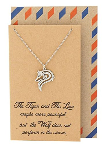Quan Jewelry Best Gifts Wolf Necklace, Gifts for Her and Him, Inspirational Quote on Greeting Card