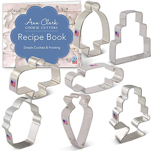 Ann Clark Cookie Cutters 7-Piece Bake Me a Cake Cookie Cutter Set with Recipe Booklet, Cake, Cake Stands, Cupcake, Rolling Pin and Piping Bag