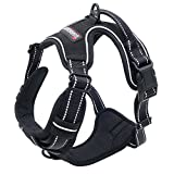 Dog harness pet harness No-Pull Pet Harness Front Range BLACK Dog Harness Adjustable Outdoor Pet Vest 11M Reflective Oxford Material Vest for Dogs Easy Control for Small Medium Large Dogs,BARKBAY
