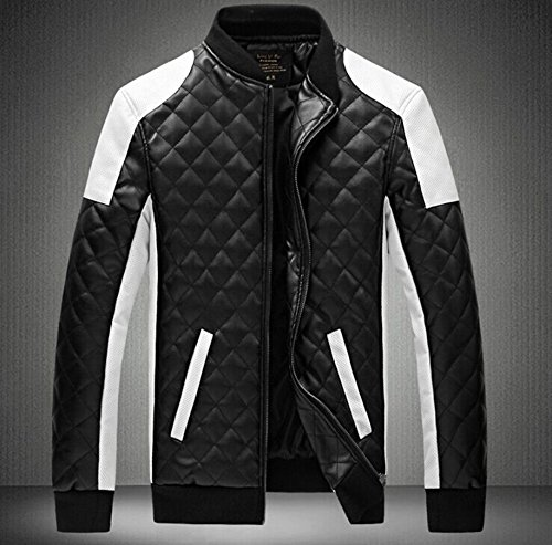 Junsi Men's Black/White PU Leather PU-Leder Coat Stand Collar Stehkragen Biker Motorcycle Plaid Jacket Color Black Size 3XL