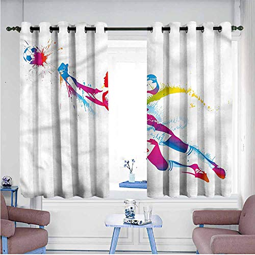 Mdxizc Thermal Insulated Drapes for Kitchen/Bedroom Boys Room Color Splatter with Ball Children's Bedroom Curtain W55 xL72 Suitable for Bedroom,Living,Room,Study, etc. (Fall Out Boy Champagne For My Real Friends)