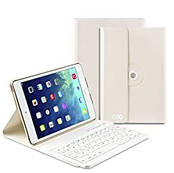 iPad Air 1 2 Keyboard, COO Wireless Removable Bluetooth Keyboard Case for Apple iPad Air 1 2 with 360 Degree Rotation and Multi-Angle Stand (White)