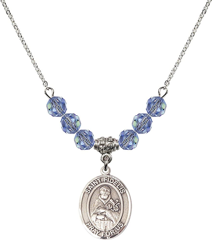 18-Inch Rhodium Plated Necklace with 6mm Light Sapphire Birthstone Beads and Sterling Silver Saint Fidelis Charm.