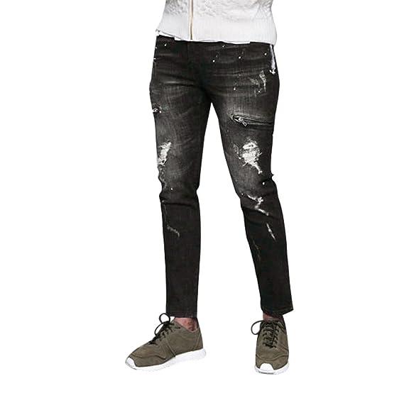Celucke Herren Jeans Hose,Männer Vintage Denim Hosen Streetwear Hiphop  Ripped Slim Fit 1d346867ac