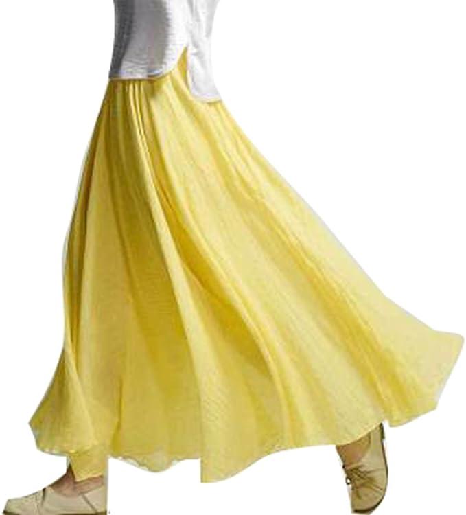 junkai Faldas Maxi para Mujer - 20 Colores Falda de Lino Algodón ...