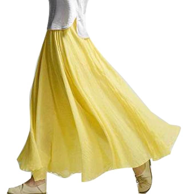 c6b084f8a6 Hibote Falda Mujer Largas Suave Cómodo Falda de Lino Algodón Doble Capa  Faldas Cintura Alta Maxi Falda 85cm 95cm  Amazon.es  Ropa y accesorios