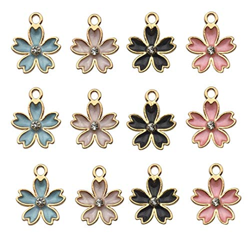 iloveDIYbeads 48pcs Gold Plated Enamel Cherry Blossoms Flower Charm Pendant DIY Jewelry Making Necklace Bracelet Earring DIY Jewelry Accessories Charms M162