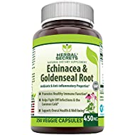 Herbal Secrets Echinacea & Goldenseal Root 450 Mg Capsules (Non-GMO) -Supports Immune and Respiratory Response* Supports Mucous Membranes, Immune Functions During Times of Seasonal* (250 Count)