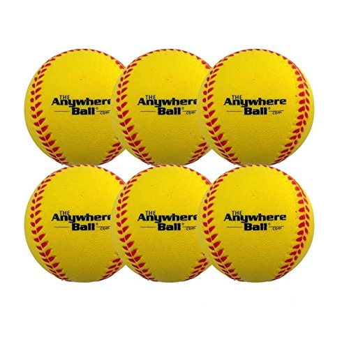 The Anywhere Ball Baseball/Softball Foam Training Ball (6 Pack) (Plastic Training Baseballs)