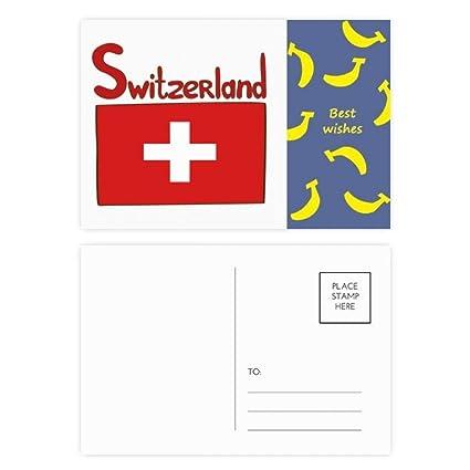 Bandera nacional de Suiza con diseño de banana y tarjeta de ...