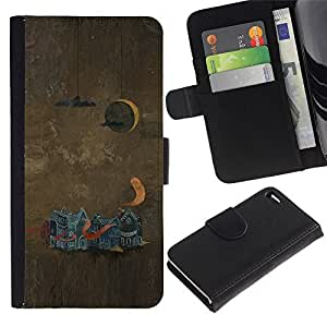 Leather Case Wallet Flip Card Pouch Soft Holder for Apple Iphone 4 / 4S / CECELL Phone case / / Abstract Painting /
