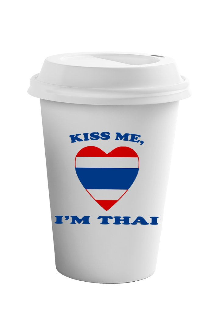 Style In Print Kiss Me I Am Thai Coffee Ceramic Travel Tumbler Mug 11oz by Style in Print