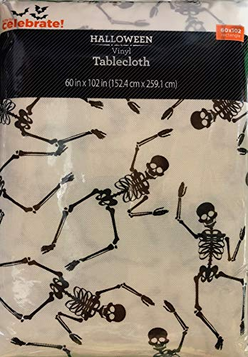 Vinyl Tablecloth 60x102 Halloween Tossed Skeleton Theme