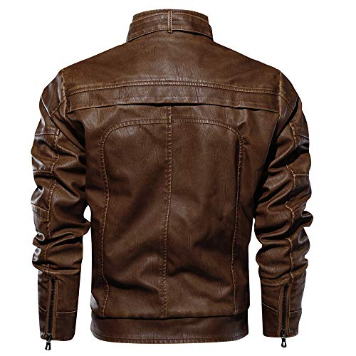 3bf3007cc CRYSULLY Men's Fall Winter Faux Leather Jacket Vintage Stand Collar ...