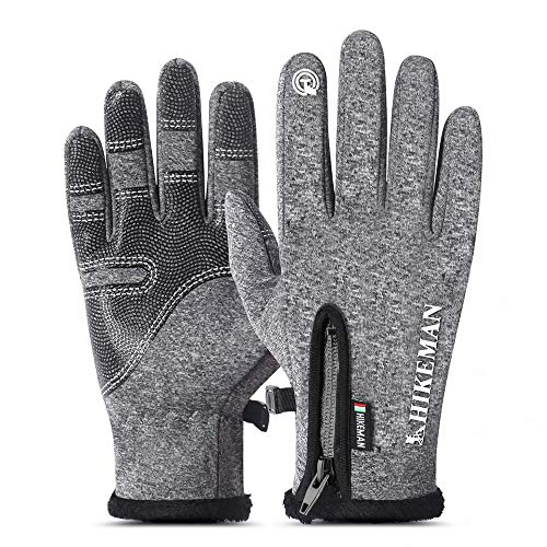Winter Gloves for Men Women, Jhua Thermal Touch Screen Gloves Windproof Touchscreen Warm Cold Weather Gloves for Sports Running Cycling Hunting Climbing Sport Smartphone, L
