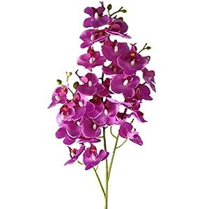 "YSZL 5pcs 30"" Tall Artificial Silk Phalaenopsis Orchid Flower Stem Arrangements 88"
