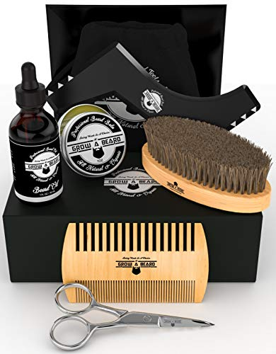 Beard Kit 6-in-1 Grooming Tool | Best Mustache & Beard Care Set For Men | Natural Balm, Unscented Oil, Boar Bristle Brush, Wood Comb, Trimming Scissors, Shaper Template | Great ()