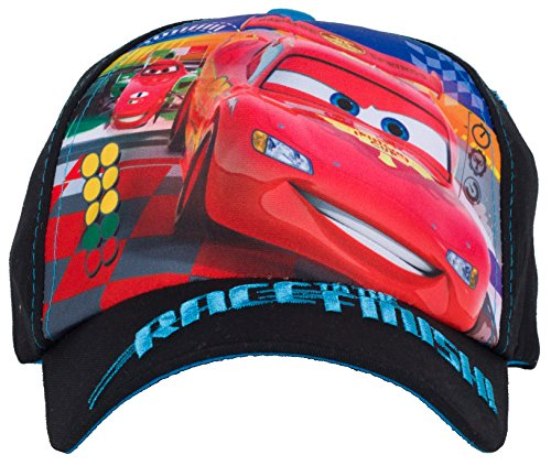 Disney Pixar Lightning McQueen Cars Race Finish Baseball Cap for Boys, Black