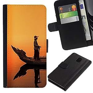 WonderWall Fondo De Pantalla Imagen Diseño Cuero Voltear Ranura Tarjeta Funda Carcasa Cover Skin Case Tapa Para Samsung Galaxy Note 3 III N9000 N9002 N9005 - el fishman en el barco, puesta del sol