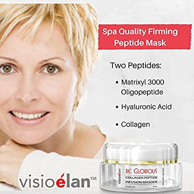 Visio Elan Collagen Mask Peptide Facial + Matrixyl3000 + Oligopeptide + Hyaluronic Acid – Luxurious Spa Quality Hydration And Rejuvenation - Use Twice Weekly 60 Day Supply