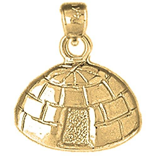 18K Yellow Gold 19mm Igloo Charm Pendant