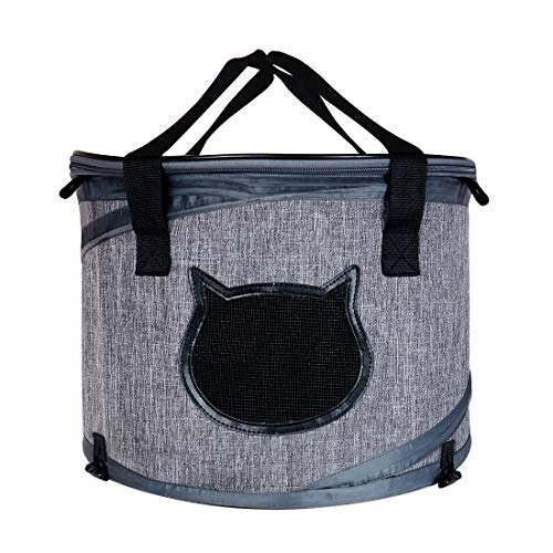 Lifepul Collapsible Cat Travel Carrier Kennel & Cat Tunnel (2 in 1 Use) – Cat Tube Indoor Outdoor Play with Fun Ball for Puzzle Exercising Hiding Training and Running