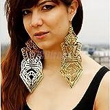 Gold Punksteam Hollow Pattern Earrings Hip-hop Club Super Big Statement Earrings 18cm