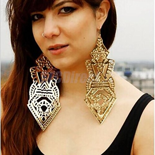Gold Punksteam Hollow Pattern Earrings Hip-hop Club Super Big Statement Earrings 18cm by sfcdirect