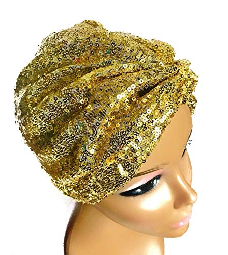 Women's Gold Sequin Turban - Headcovers Nightcap - Hair Wrapping Cap - Beanie Hat Chemo Cap - Hospital Gifts - Biker Hairnet Satin Scarf - Lace Front Bonnet - Formal New Years Eve - Gifts For Her