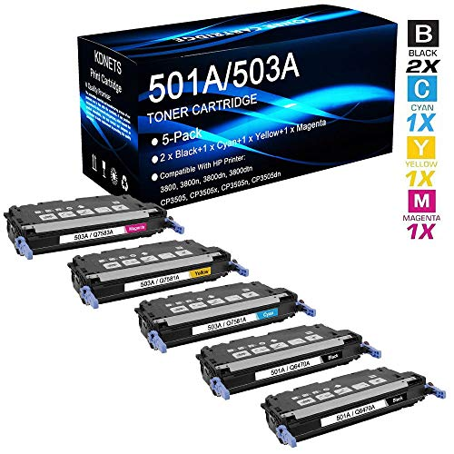 5-Pack Compatible 501A 503A Set (Q6470A+Q7581A+Q7582A+Q7583A) Print Cartridge Use for HP Color Laserjet CP3505dn Printer (2 Black, Cyan, Yellow, Magenta), by KDNETS